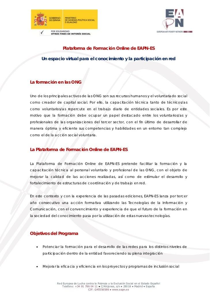 Plataforma de Formación Online de EAPN-ES       Un espacio virtual para el conocimiento y la participación en redLa formac...