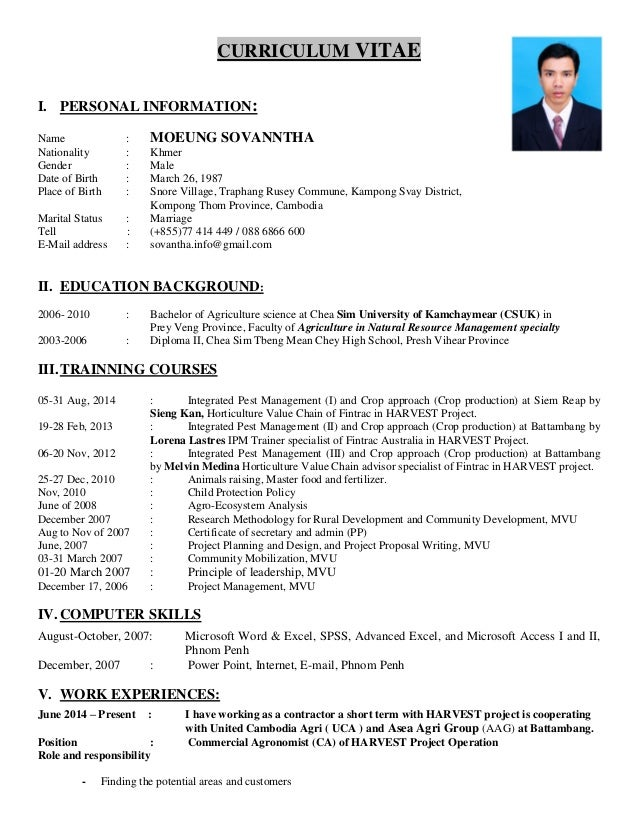 curriculum vitae i personal information name moeung sovanntha nationality khmer gender
