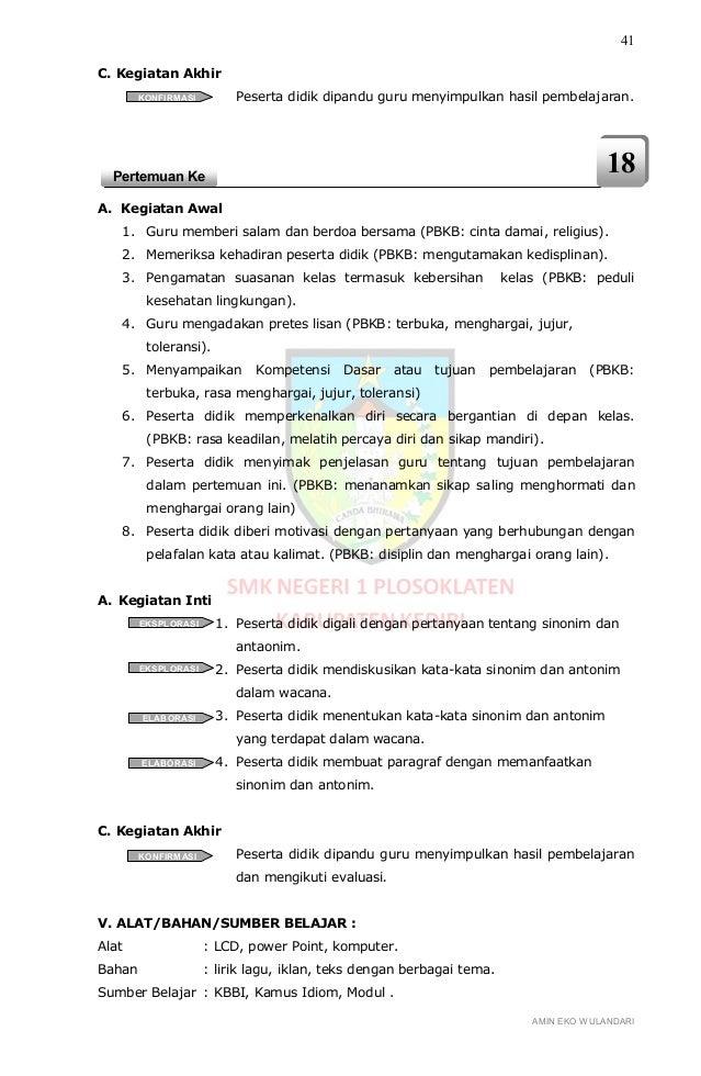 Rpp Berkarakter Bahasa Indonesia Smk Kelas X Semester 1
