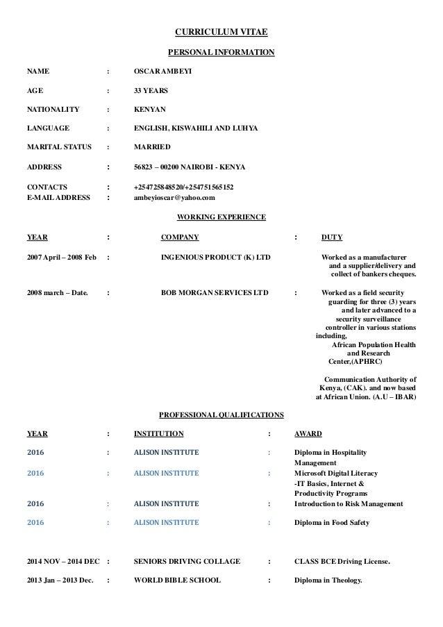 curriculum vitae personal information name oscar ambeyi age 33 years nationality kenyan language