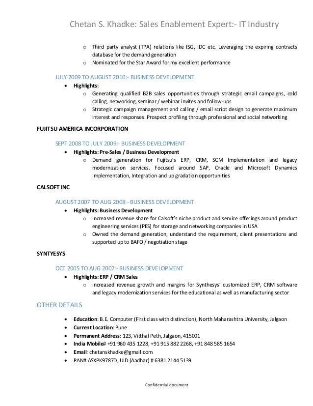 Erp sales resume