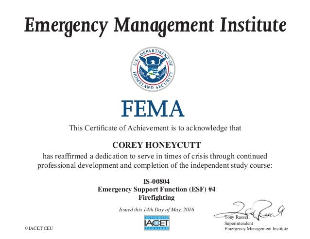 IS-804 (ESF #4 - Firefighter) FEMA Certification.asp