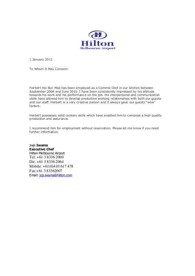 Recommendation letter from hilton for Hotel recommendation