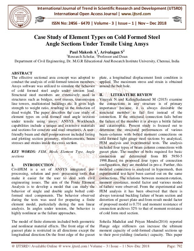 Case Study of Element Types on Cold Formed Steel Angle