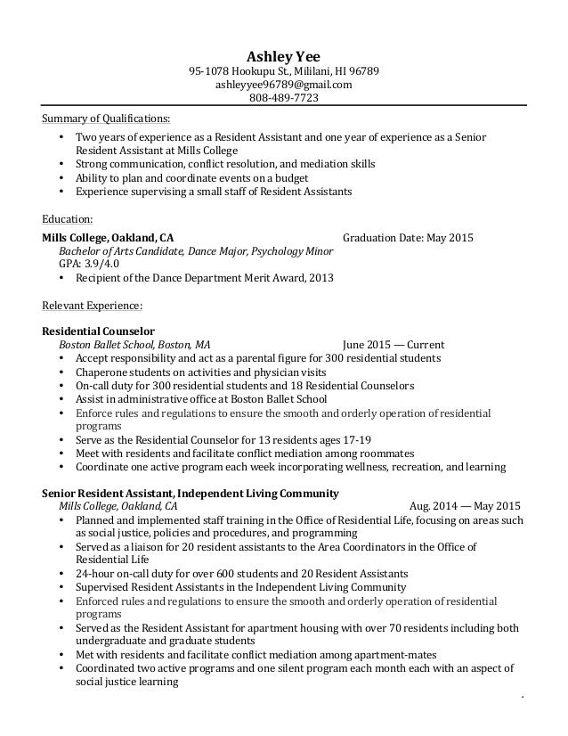 ... Student Affairs Resume. 1 Ashley Yee 95-1078 Hookupu St., Mililani, HI  96789 ashleyyee96789 ...
