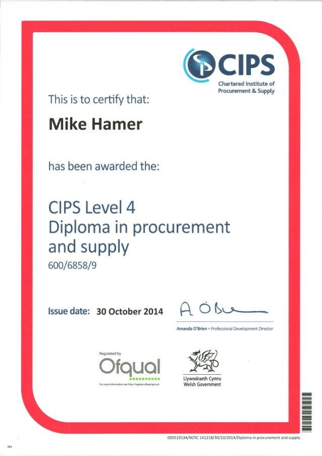 cips level 4 diploma in procurement  u0026 supply