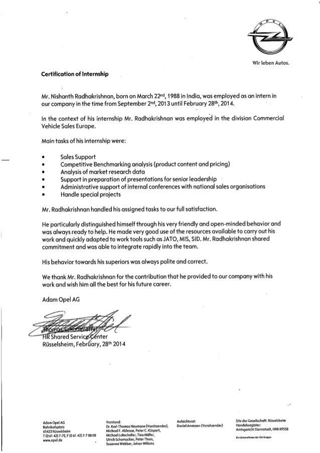 certification of internship
