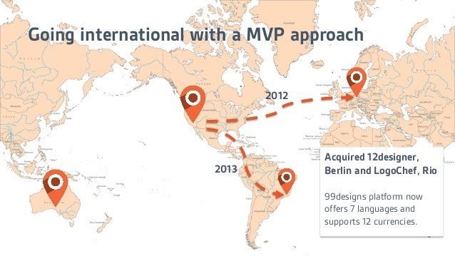 Going international with a MVP approach Acquired 12designer, Berlin and LogoChef, Rio 99designs platform now offers 7 lang...
