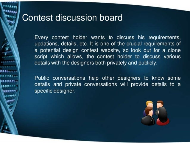 Contest discussion boardEvery contest holder wants to discuss his requirements,updations, details, etc. It is one of the c...