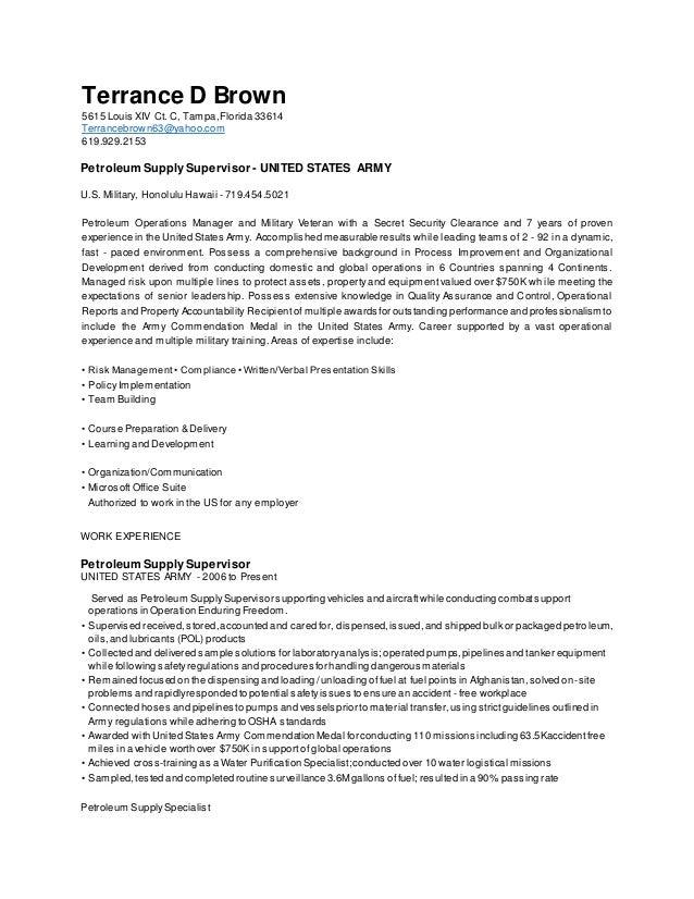 terrance brown revised fueler resume