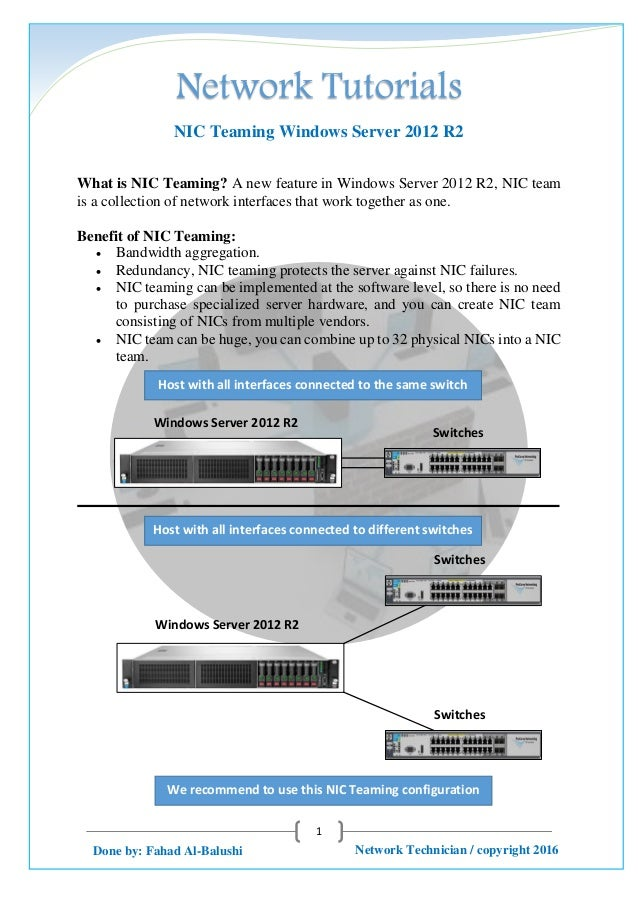 Network Tutorials 1 Network Technician / copyright 2016Done by: Fahad Al-Balushi NIC Teaming Windows Server 2012 R2 What i...