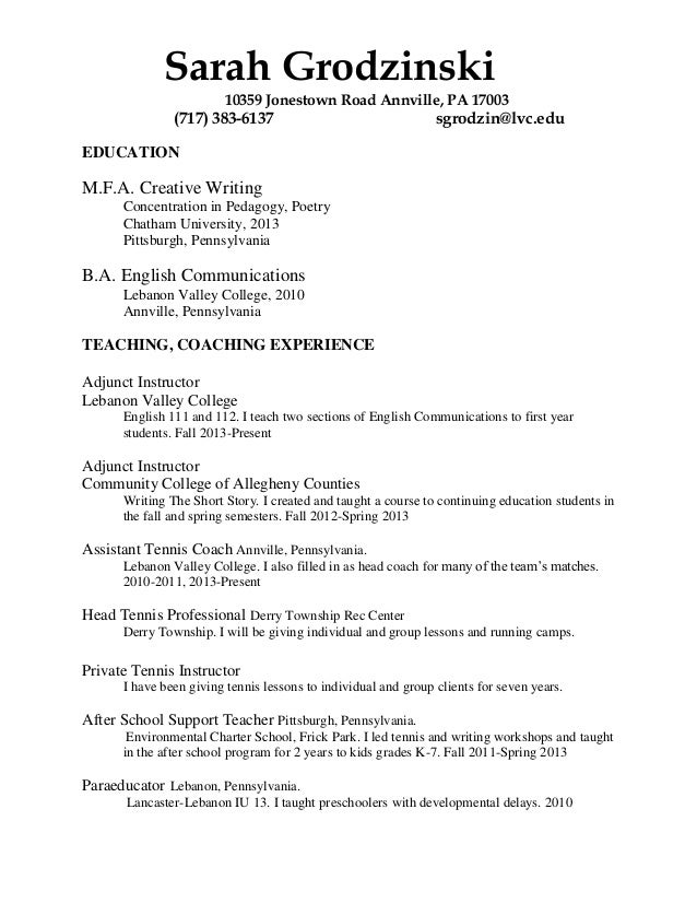Tennis Instructor Resume - Contegri.com