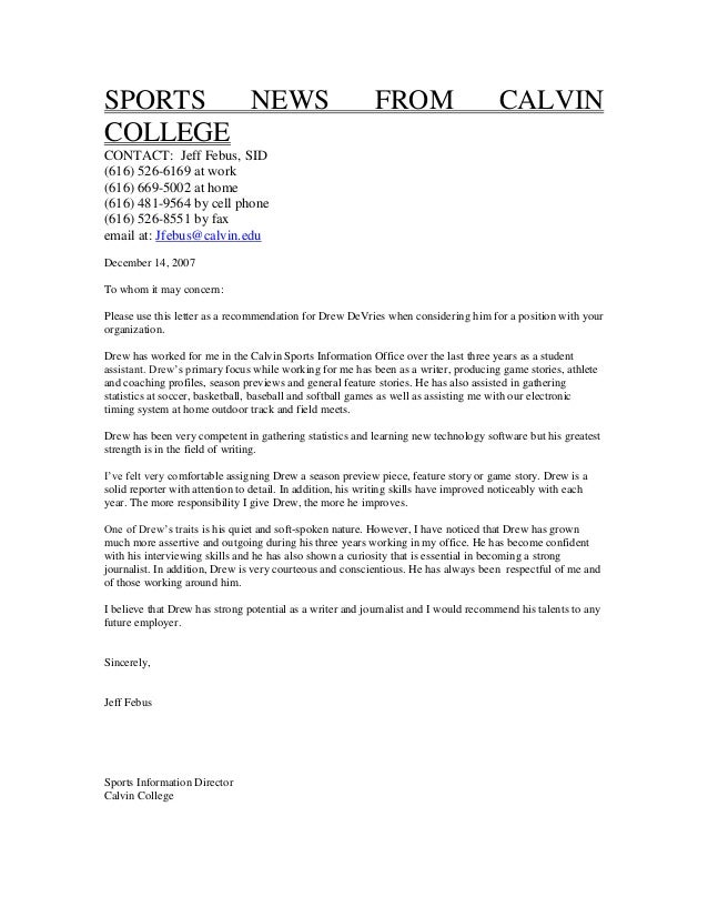calvin college recommendation letter