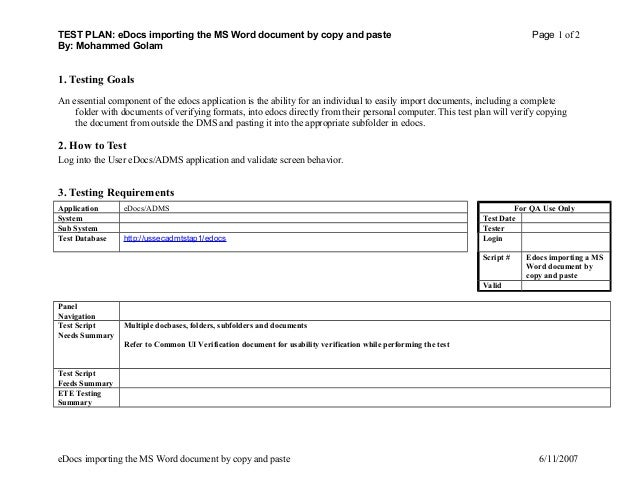 TEST PLAN EDocs Importing The MS Word Document By Copy And Paste Page 1 Of
