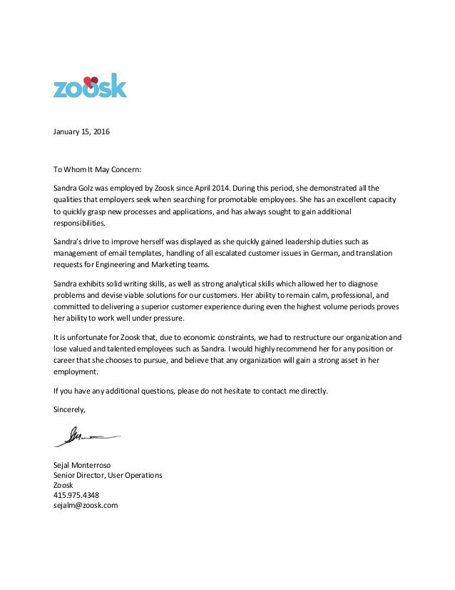 Zoosk recommendation letter january 15 2016 to whom it may concern sandra golz was employed by zoosk spiritdancerdesigns Images