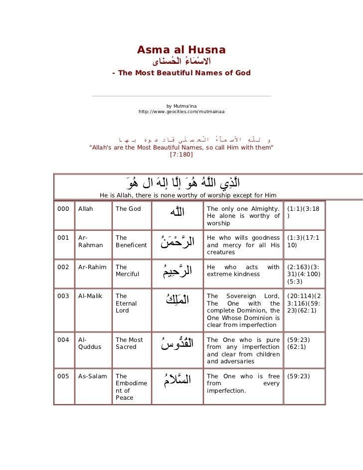 Asma al Husna                               َﻻﺳﻤَﺎ ُ اﻟْ ُﺴﻨﺎى                                   ا ْ ء ﺤ              ...