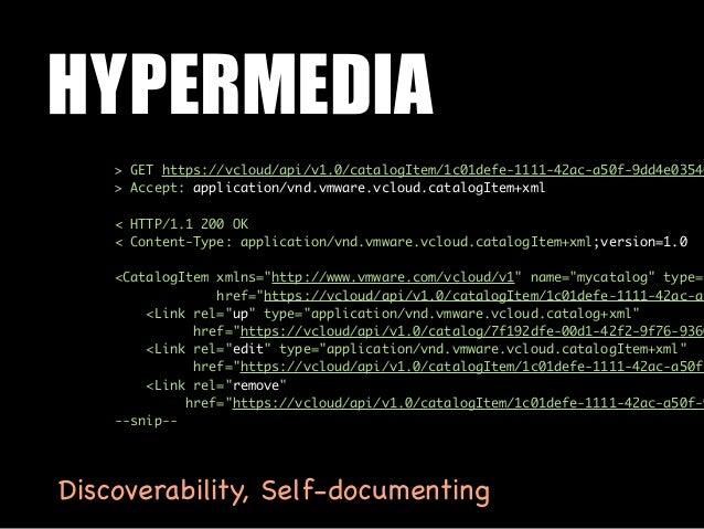 HYPERMEDIA    > GET https://vcloud/api/v1.0/catalogItem/1c01defe-1111-42ac-a50f-9dd4e03546    > Accept: application/vnd.vm...