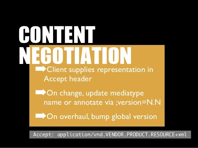CONTENT NEGOTIATION ➡   Client supplies representation in    Accept header ➡On change, update mediatype    name or annota...