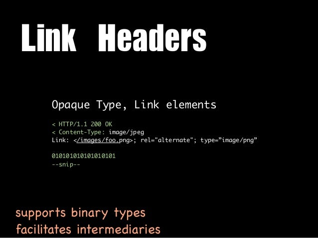 Link Headers      Opaque Type, Link elements      < HTTP/1.1 200 OK      < Content-Type: image/jpeg      Link: </images/f...
