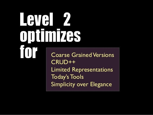 Level 2 optimizes for Coarse Grained Versions    CRUD++    Limited Representations    Today's Tools    Simplicity over ...