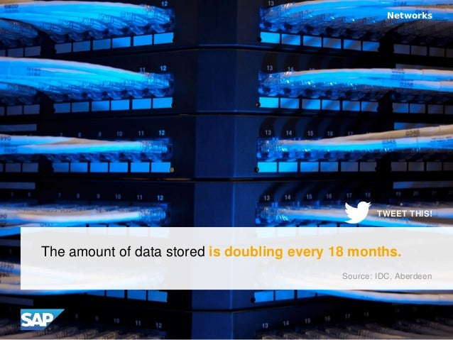 The amount of data stored is doubling every 18 months. Networks Source: IDC, Aberdeen TWEET THIS!
