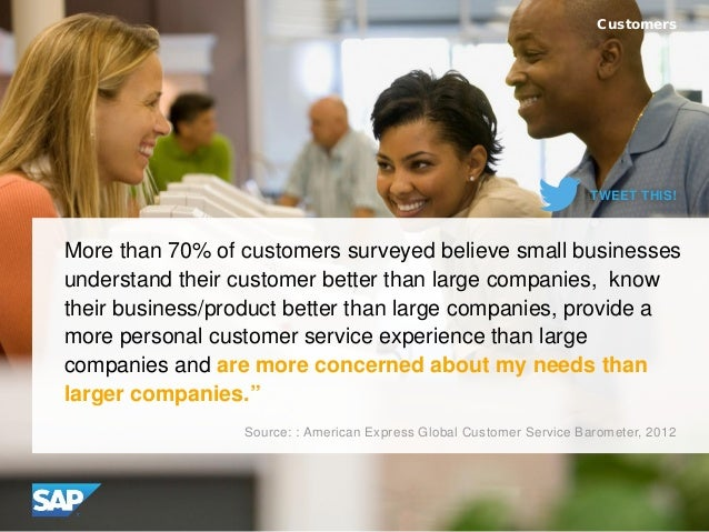 More than 70% of customers surveyed believe small businesses understand their customer better than large companies, know t...
