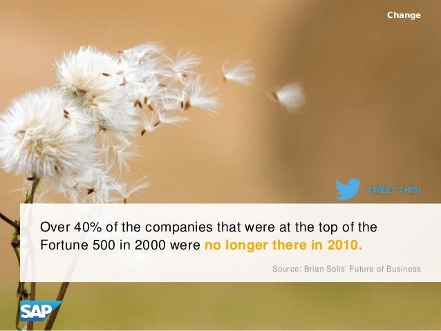 Over 40% of the companies that were at the top of the Fortune 500 in 2000 were no longer there in 2010. Change Source: Bri...