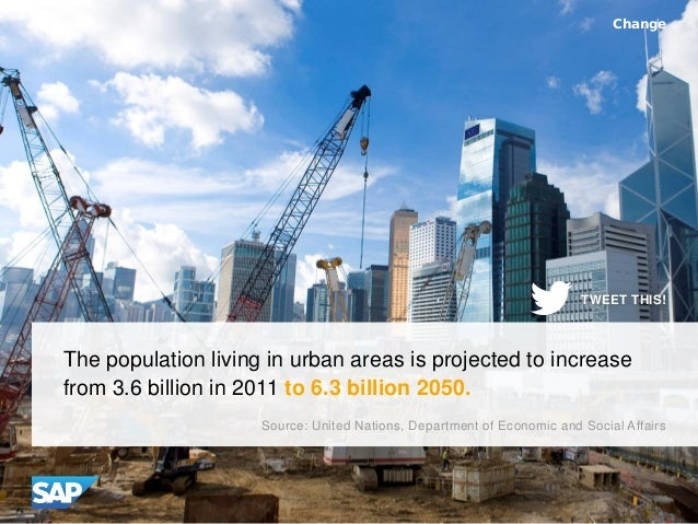 The population living in urban areas is projected to increase from 3.6 billion in 2011 to 6.3 billion 2050. Change Source:...