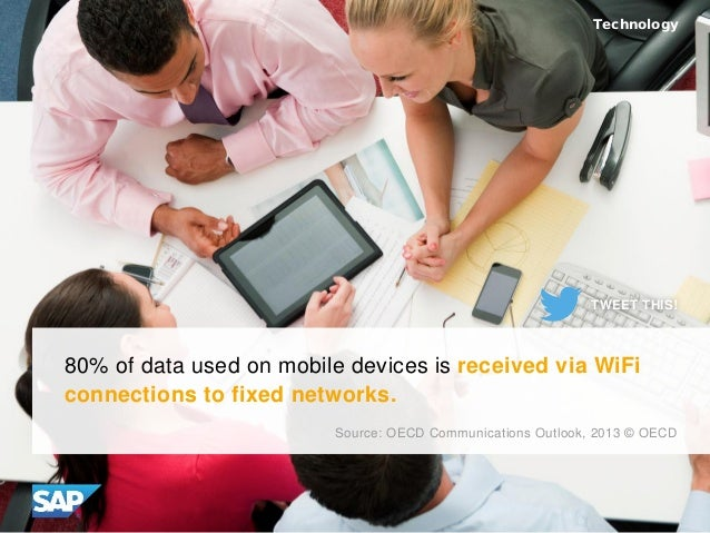 80% of data used on mobile devices is received via WiFi connections to fixed networks. Source: OECD Communications Outlook...