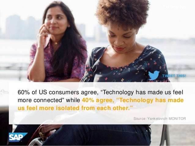 "60% of US consumers agree, ""Technology has made us feel more connected"" while 40% agree, ""Technology has made us feel more..."