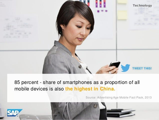 85 percent - share of smartphones as a proportion of all mobile devices is also the highest in China. Source: Advertising ...