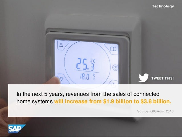 In the next 5 years, revenues from the sales of connected home systems will increase from $1.9 billion to $3.8 billion. Te...