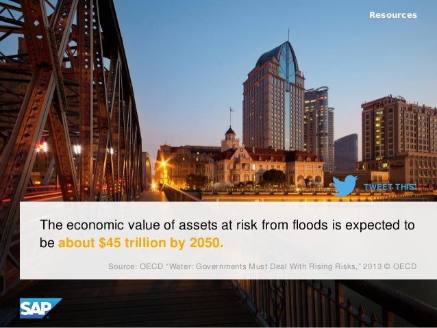 "The economic value of assets at risk from floods is expected to be about $45 trillion by 2050. Resources Source: OECD ""Wat..."