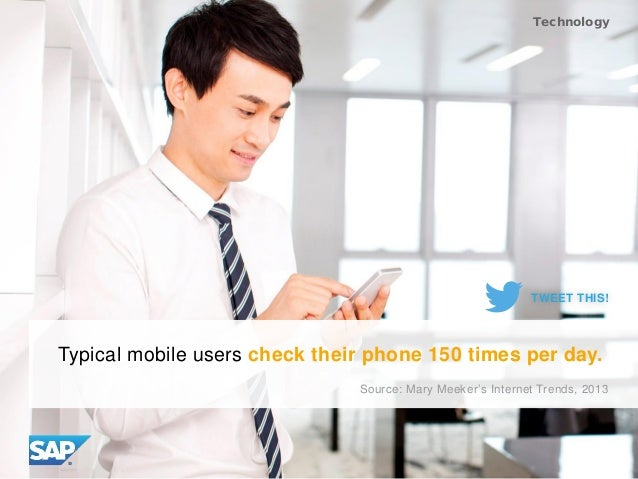 Typical mobile users check their phone 150 times per day. Source: Mary Meeker's Internet Trends, 2013 Technology TWEET THI...