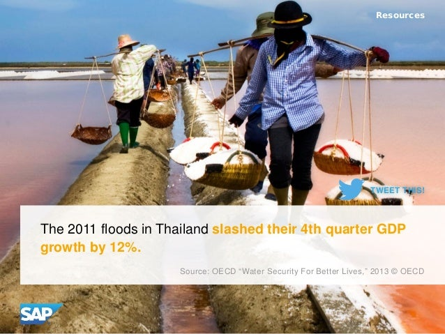 "The 2011 floods in Thailand slashed their 4th quarter GDP growth by 12%. Resources Source: OECD ""Water Security For Better..."