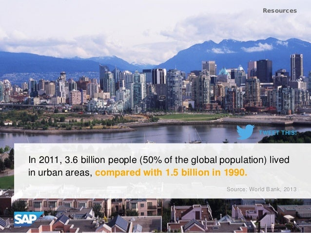 In 2011, 3.6 billion people (50% of the global population) lived in urban areas, compared with 1.5 billion in 1990. Resour...