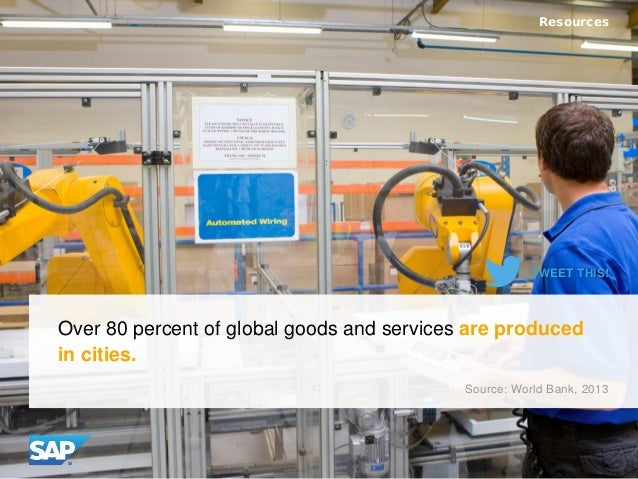 Over 80 percent of global goods and services are produced in cities. Resources Source: World Bank, 2013 TWEET THIS!