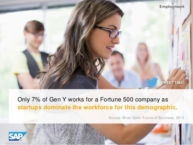 Only 7% of Gen Y works for a Fortune 500 company as startups dominate the workforce for this demographic. Employment Sourc...