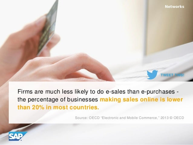 Firms are much less likely to do e-sales than e-purchases - the percentage of businesses making sales online is lower than...