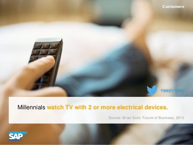 Millennials watch TV with 2 or more electrical devices. Customers Source: Brian Solis' Future of Business, 2013 TWEET THIS!