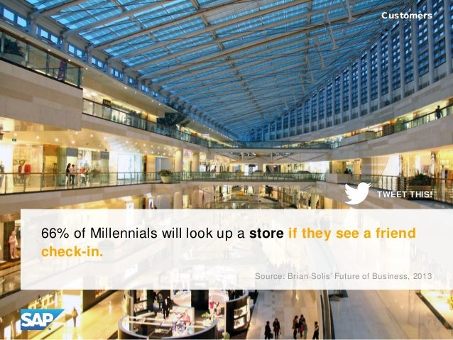 66% of Millennials will look up a store if they see a friend check-in. Customers Source: Brian Solis' Future of Business, ...
