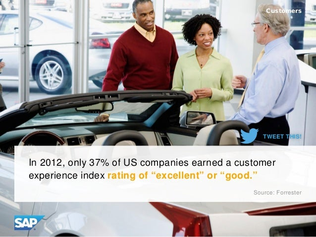 "In 2012, only 37% of US companies earned a customer experience index rating of ""excellent"" or ""good."" Customers Source: Fo..."