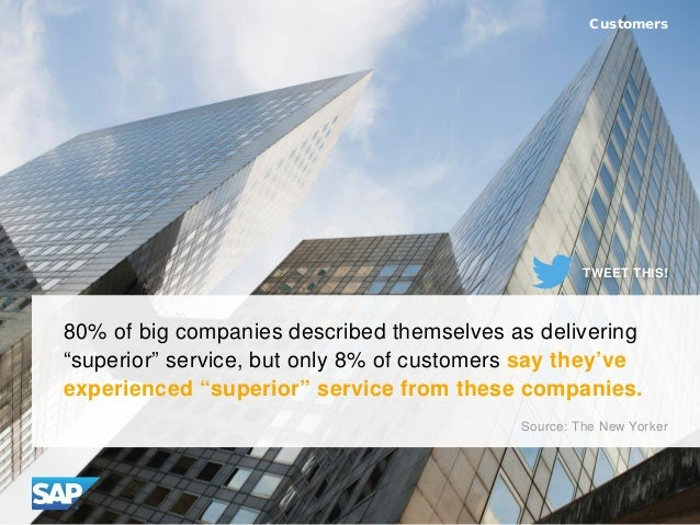 """80% of big companies described themselves as delivering """"superior"""" service, but only 8% of customers say they've experienc..."""