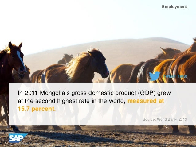 In 2011 Mongolia's gross domestic product (GDP) grew at the second highest rate in the world, measured at 15.7 percent. So...