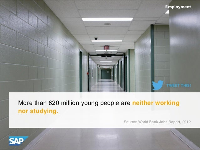 More than 620 million young people are neither working nor studying. Employment Source: World Bank Jobs Report, 2012 TWEET...