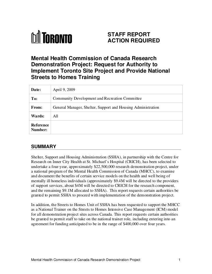 STAFF REPORT                                              ACTION REQUIREDMental Health Commission of Canada ResearchDemons...