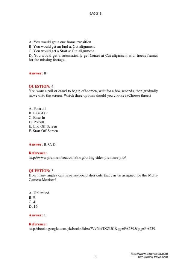 Exam 9a0-318 Premiere Pro CS6 Recertification Exam