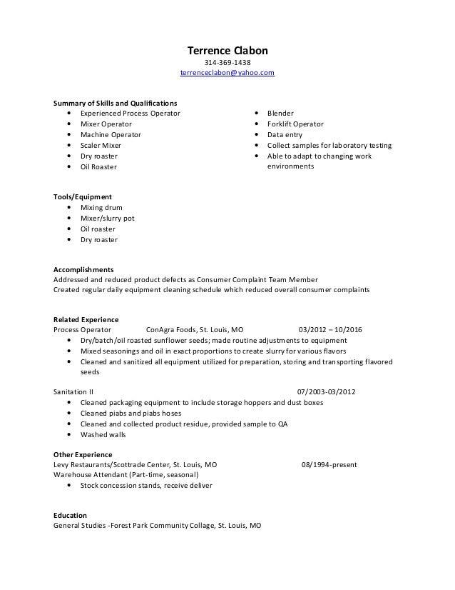 terrence clabon  process operator resume