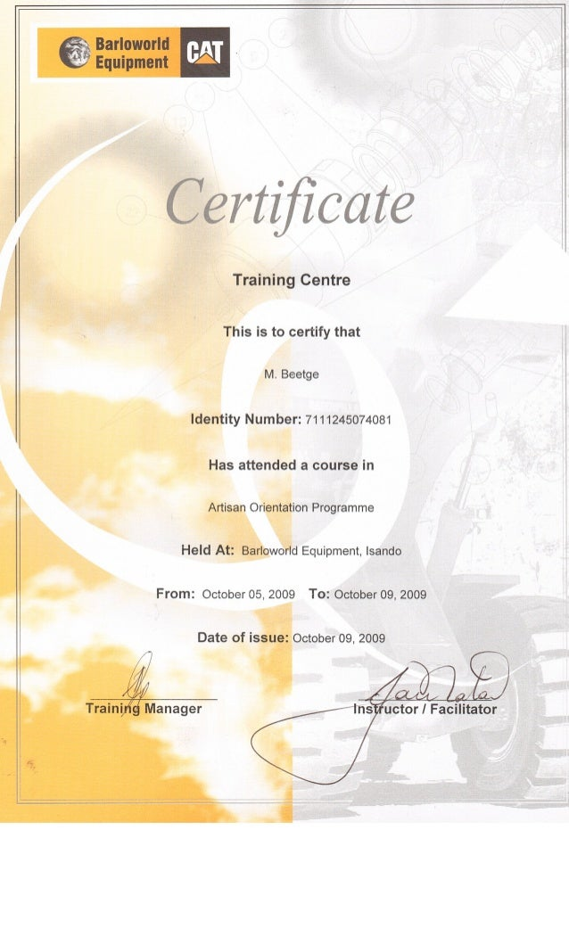 M Beetge - 8. Artisan Orientation Programme