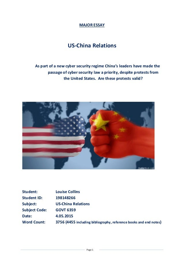 chinas relations with the us essay Is the trade war impacting us views of china august 29, 2018 is the trade  war impacting us views of china a new survey hints at the (limited) impact of.